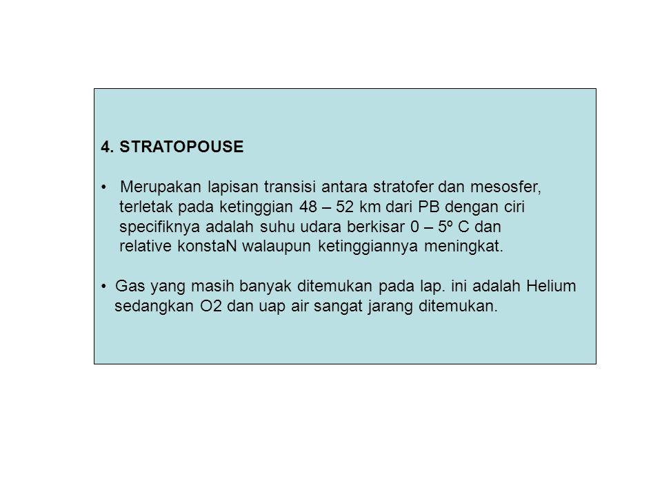 4. STRATOPOUSE Merupakan lapisan transisi antara stratofer dan mesosfer, terletak pada ketinggian 48 – 52 km dari PB dengan ciri specifiknya adalah su