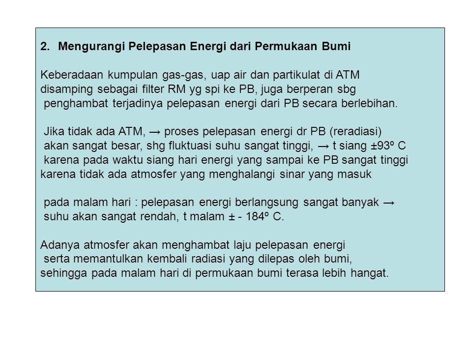 2.Mengurangi Pelepasan Energi dari Permukaan Bumi Keberadaan kumpulan gas-gas, uap air dan partikulat di ATM disamping sebagai filter RM yg spi ke PB,