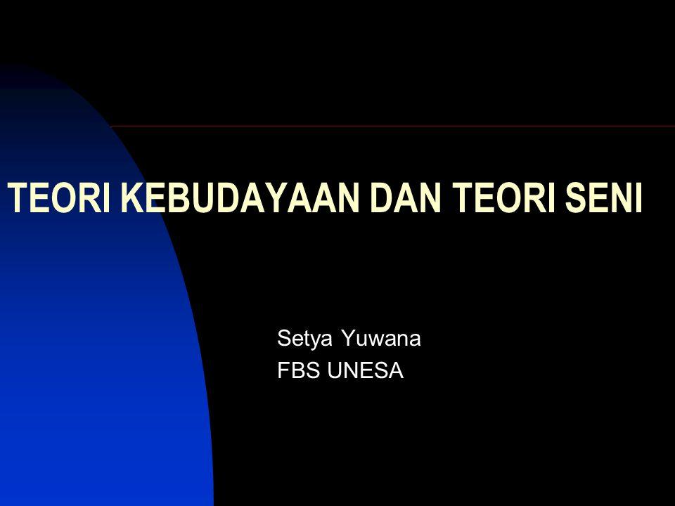 TEORI KEBUDAYAAN DAN TEORI SENI Setya Yuwana FBS UNESA