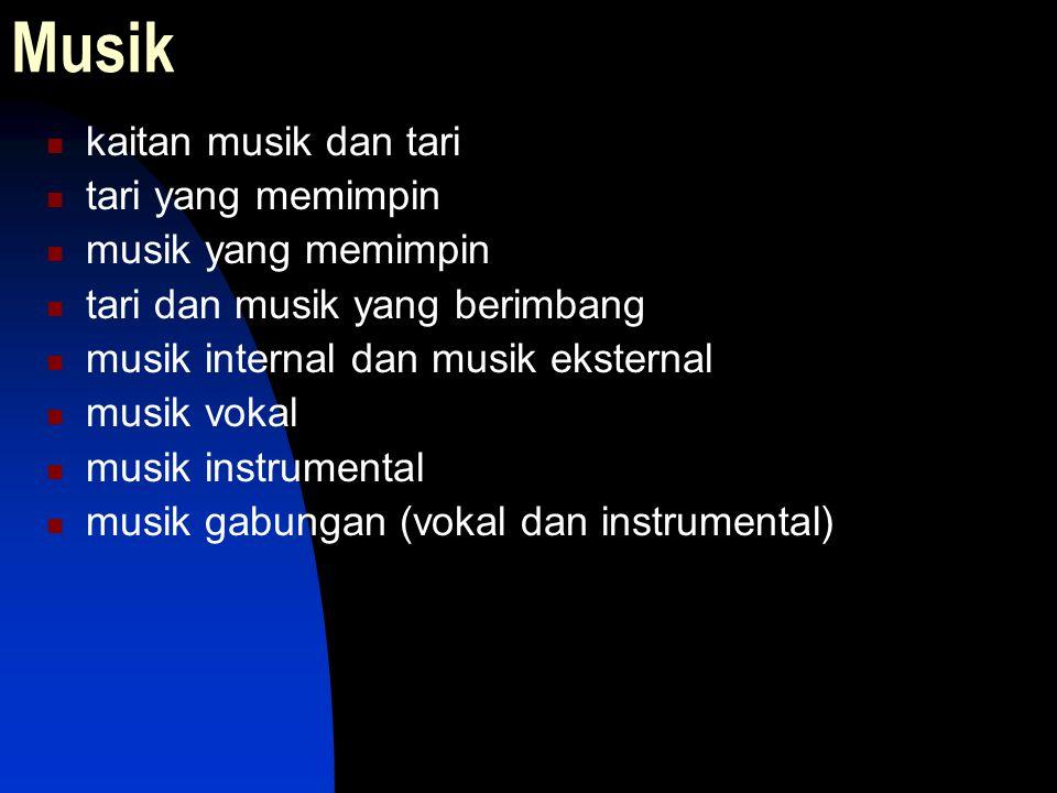 Musik kaitan musik dan tari tari yang memimpin musik yang memimpin tari dan musik yang berimbang musik internal dan musik eksternal musik vokal musik