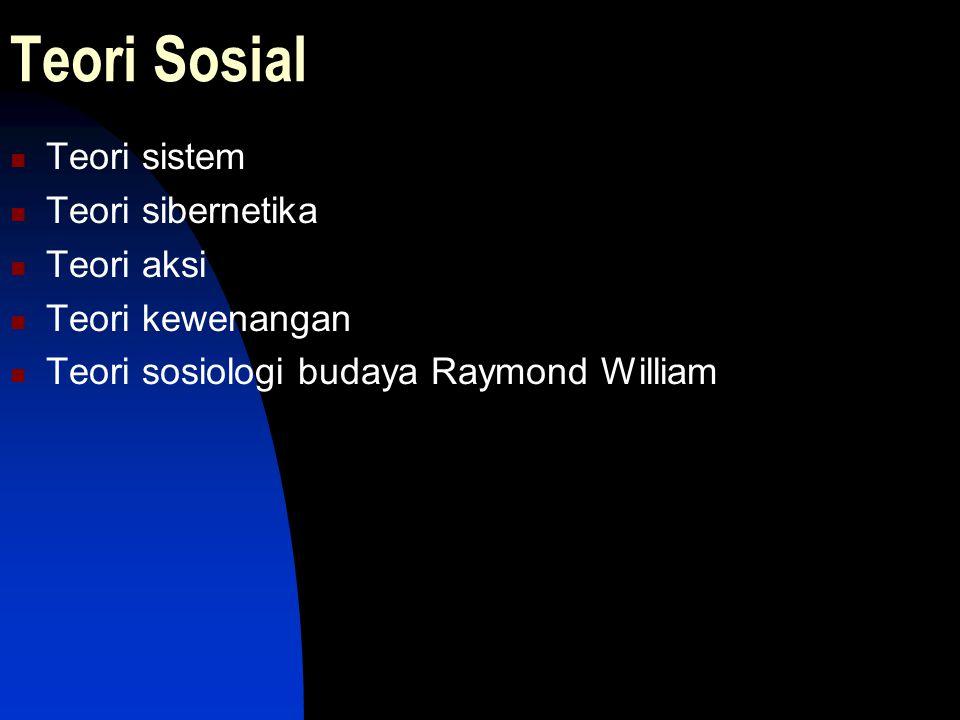 Teori Sosial Teori sistem Teori sibernetika Teori aksi Teori kewenangan Teori sosiologi budaya Raymond William