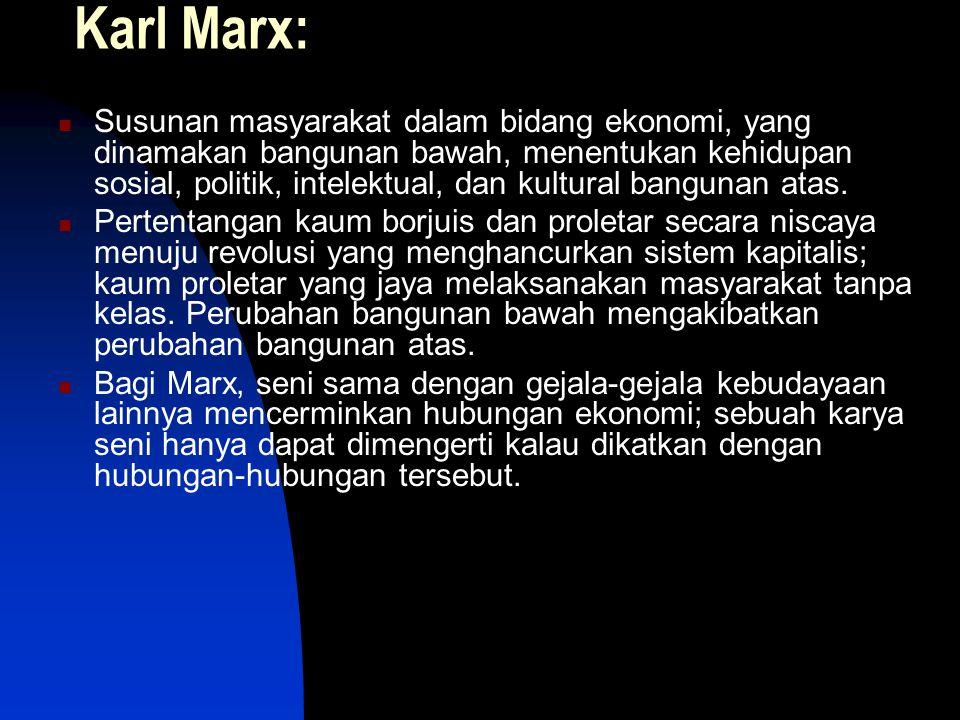 Karl Marx: Susunan masyarakat dalam bidang ekonomi, yang dinamakan bangunan bawah, menentukan kehidupan sosial, politik, intelektual, dan kultural ban