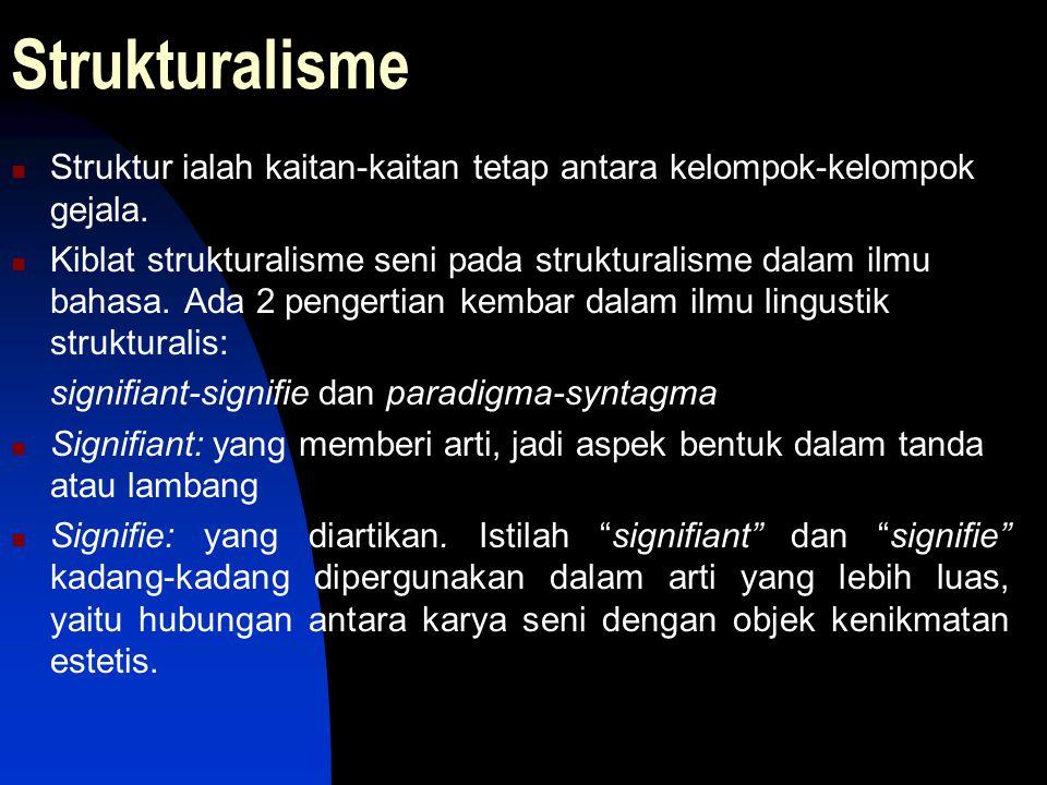 Strukturalisme Struktur ialah kaitan-kaitan tetap antara kelompok-kelompok gejala. Kiblat strukturalisme seni pada strukturalisme dalam ilmu bahasa. A