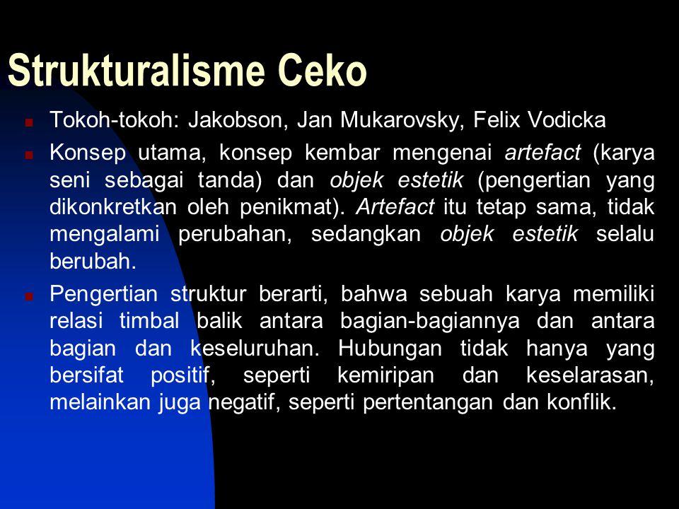Strukturalisme Ceko Tokoh-tokoh: Jakobson, Jan Mukarovsky, Felix Vodicka Konsep utama, konsep kembar mengenai artefact (karya seni sebagai tanda) dan
