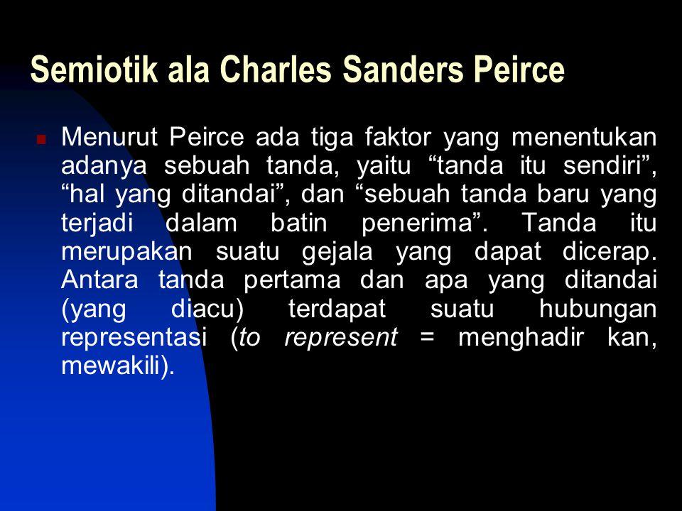 "Semiotik ala Charles Sanders Peirce Menurut Peirce ada tiga faktor yang menentukan adanya sebuah tanda, yaitu ""tanda itu sendiri"", ""hal yang ditandai"""