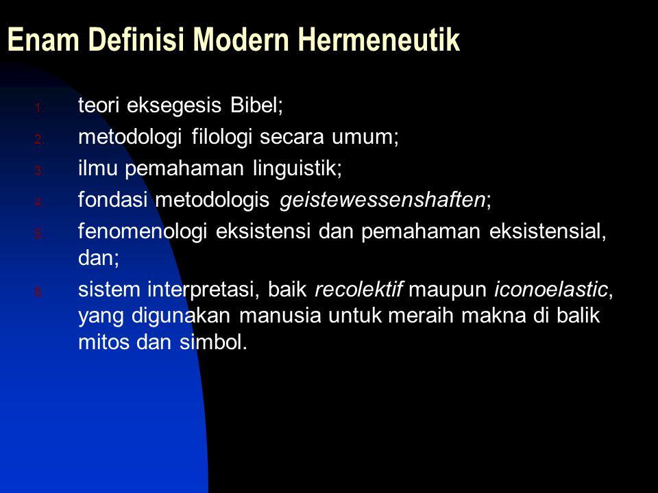 Enam Definisi Modern Hermeneutik 1. teori eksegesis Bibel; 2. metodologi filologi secara umum; 3. ilmu pemahaman linguistik; 4. fondasi metodologis ge