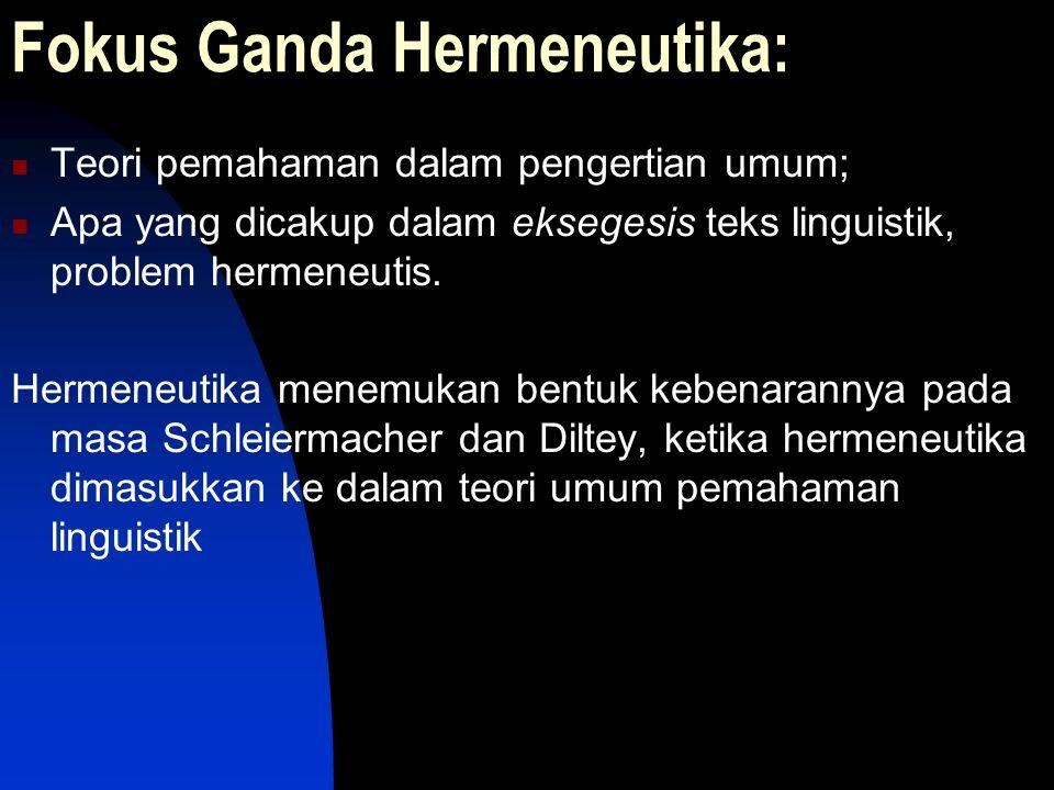 Fokus Ganda Hermeneutika: Teori pemahaman dalam pengertian umum; Apa yang dicakup dalam eksegesis teks linguistik, problem hermeneutis. Hermeneutika m