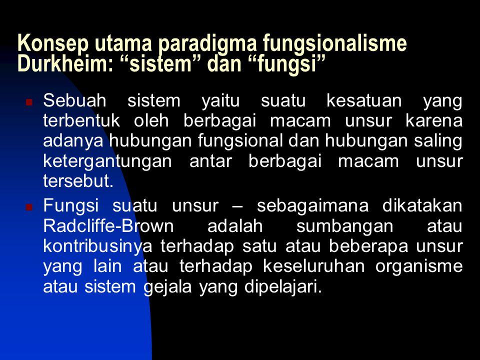 "Konsep utama paradigma fungsionalisme Durkheim: ""sistem"" dan ""fungsi"" Sebuah sistem yaitu suatu kesatuan yang terbentuk oleh berbagai macam unsur kare"
