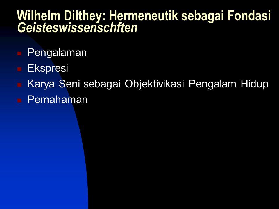 Wilhelm Dilthey: Hermeneutik sebagai Fondasi Geisteswissenschften Pengalaman Ekspresi Karya Seni sebagai Objektivikasi Pengalam Hidup Pemahaman