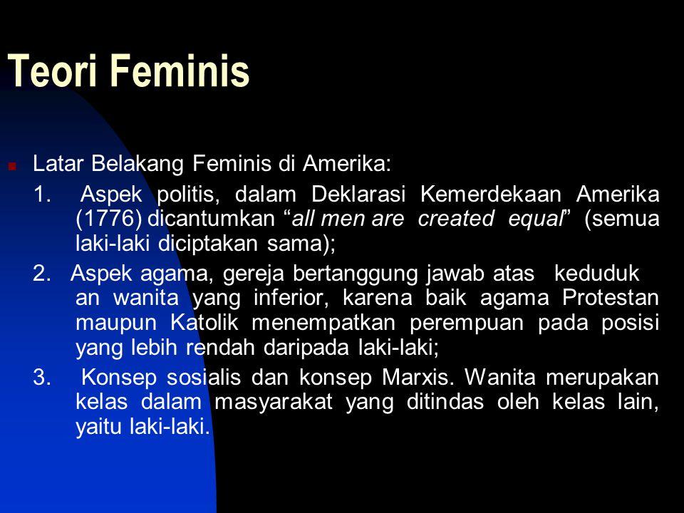 "Teori Feminis Latar Belakang Feminis di Amerika: 1. Aspek politis, dalam Deklarasi Kemerdekaan Amerika (1776) dicantumkan ""all men are created equal"""