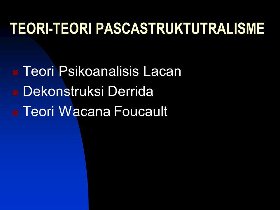 TEORI-TEORI PASCASTRUKTUTRALISME Teori Psikoanalisis Lacan Dekonstruksi Derrida Teori Wacana Foucault