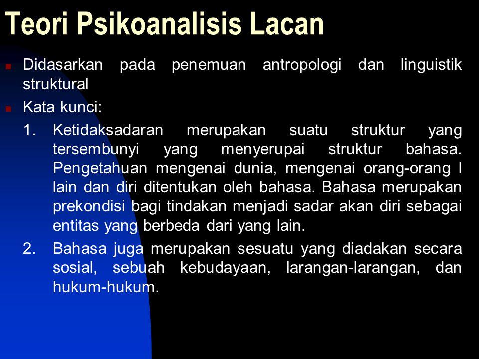 Teori Psikoanalisis Lacan Didasarkan pada penemuan antropologi dan linguistik struktural Kata kunci: 1. Ketidaksadaran merupakan suatu struktur yang t