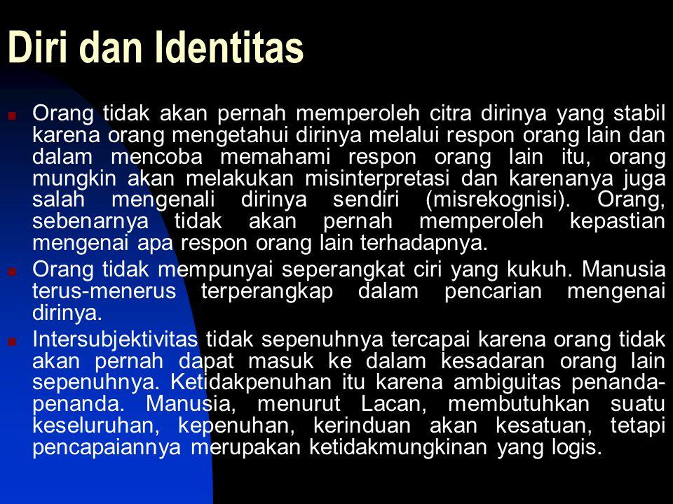 Diri dan Identitas Orang tidak akan pernah memperoleh citra dirinya yang stabil karena orang mengetahui dirinya melalui respon orang lain dan dalam me
