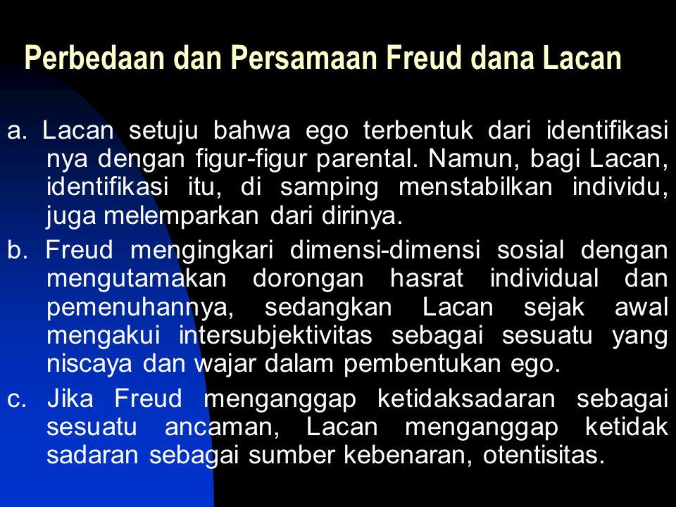 Perbedaan dan Persamaan Freud dana Lacan a. Lacan setuju bahwa ego terbentuk dari identifikasi nya dengan figur-figur parental. Namun, bagi Lacan, ide