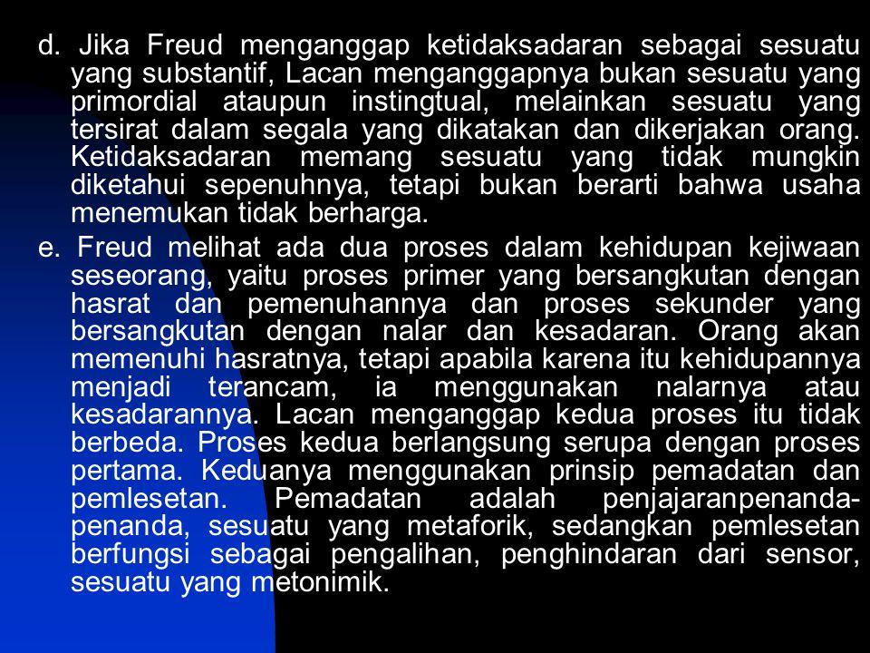 d. Jika Freud menganggap ketidaksadaran sebagai sesuatu yang substantif, Lacan menganggapnya bukan sesuatu yang primordial ataupun instingtual, melain