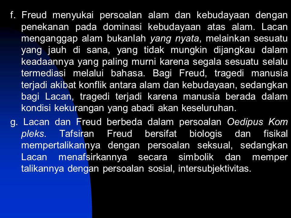 f. Freud menyukai persoalan alam dan kebudayaan dengan penekanan pada dominasi kebudayaan atas alam. Lacan menganggap alam bukanlah yang nyata, melain