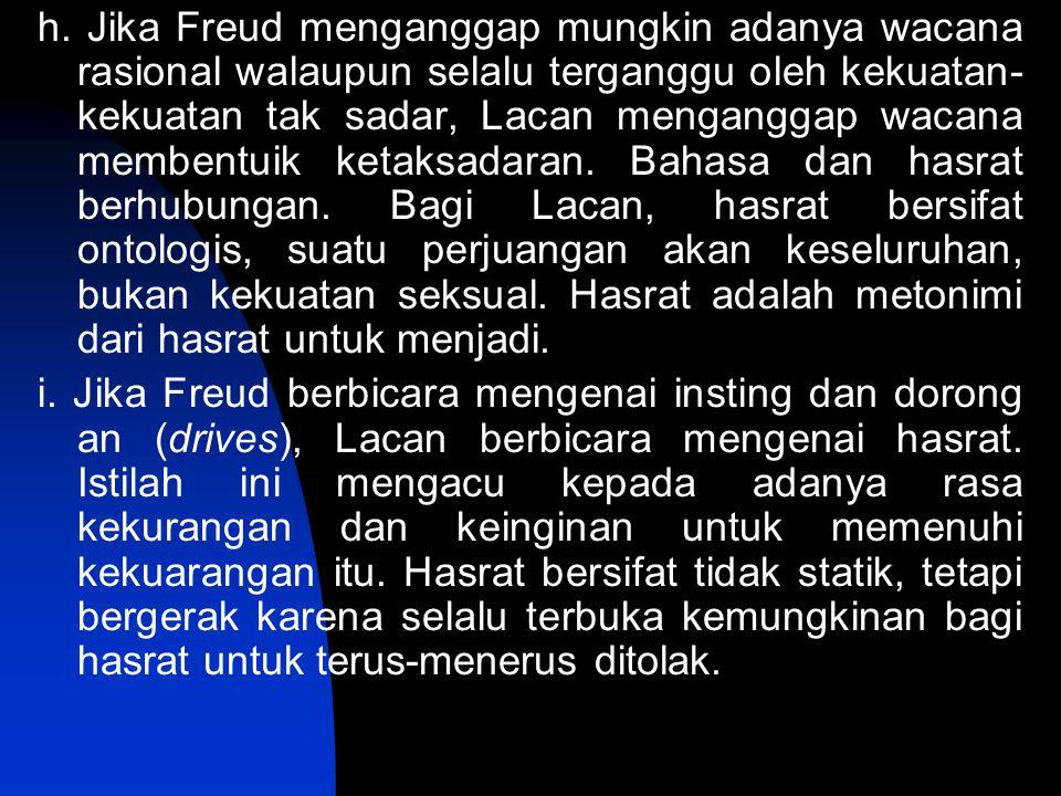 h. Jika Freud menganggap mungkin adanya wacana rasional walaupun selalu terganggu oleh kekuatan- kekuatan tak sadar, Lacan menganggap wacana membentui
