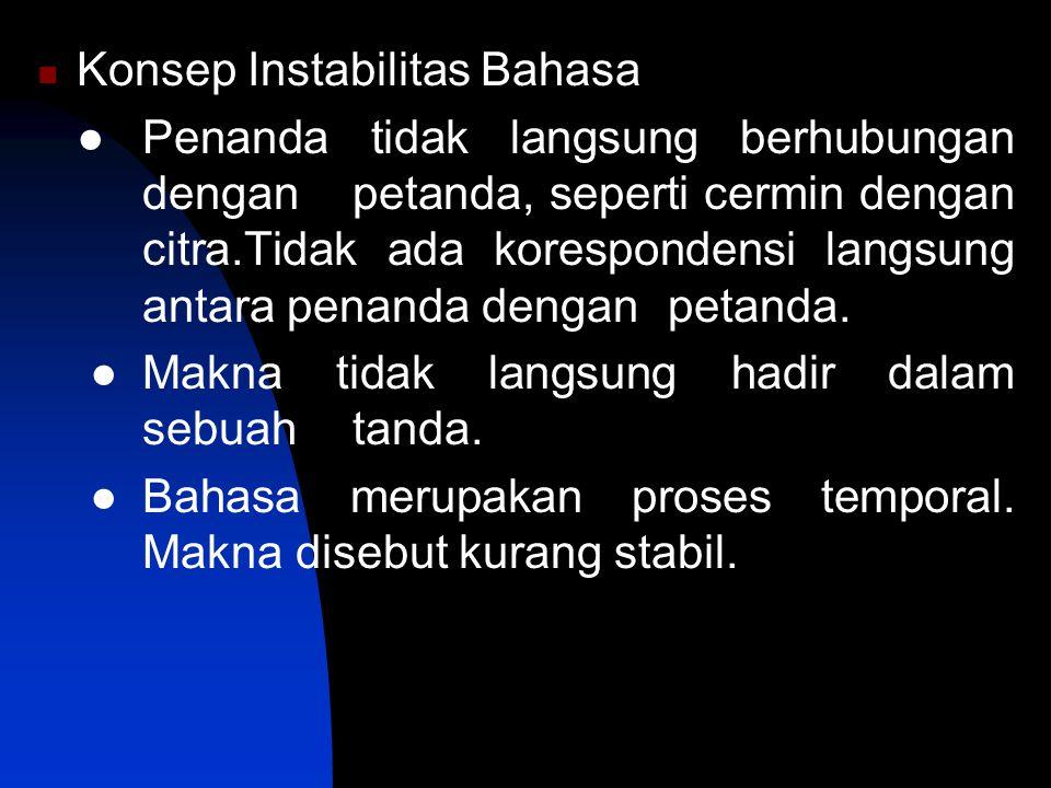 Konsep Instabilitas Bahasa ● Penanda tidak langsung berhubungan dengan petanda, seperti cermin dengan citra.Tidak ada korespondensi langsung antara pe