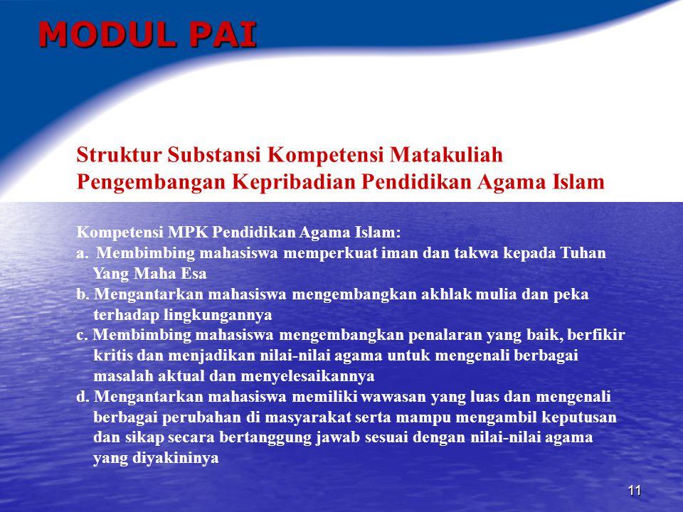 12 MODUL PAI Peranan Tiap Materi Pokok Dalam Kesatuan Modul Matakuliah Pengembangan Kepribadian Pendidikan Agama Islam a.