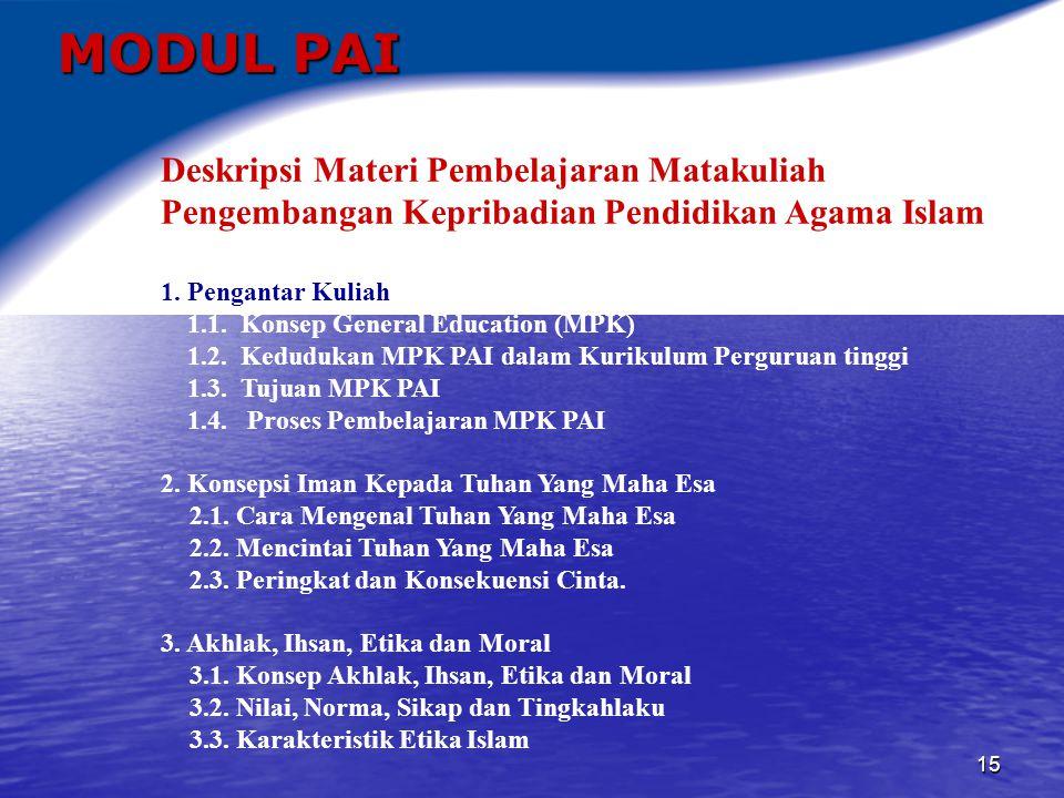 16 MODUL PAI 4.Akhlak Terhadap Tuhan Yang Maha Esa 4.1.