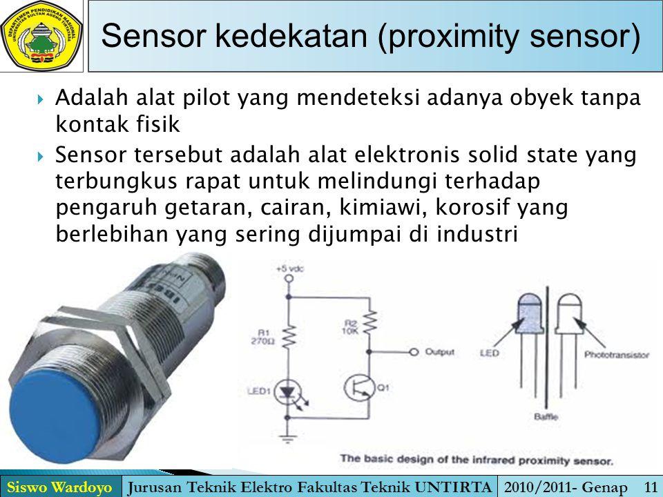  Adalah alat pilot yang mendeteksi adanya obyek tanpa kontak fisik  Sensor tersebut adalah alat elektronis solid state yang terbungkus rapat untuk m