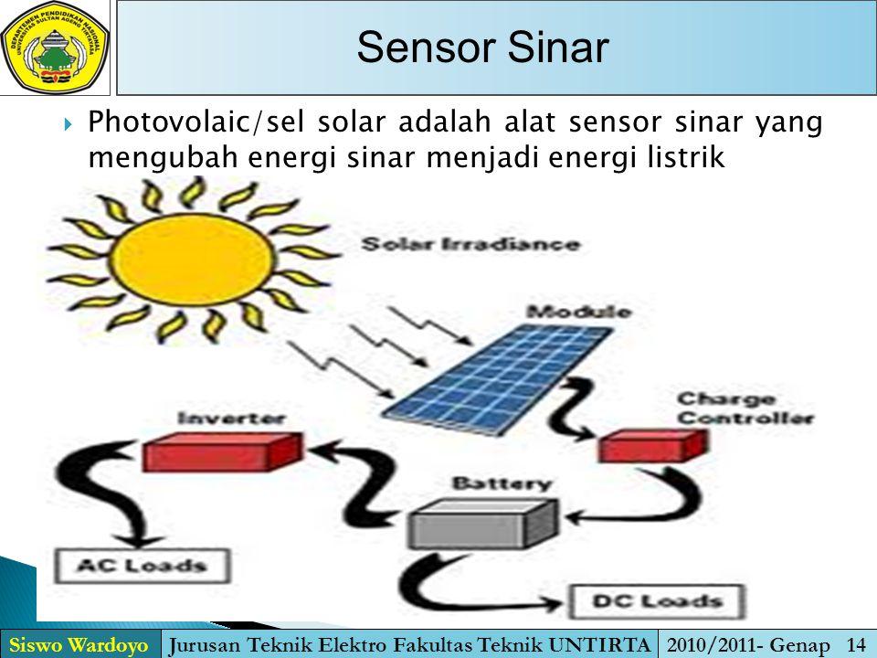  Photovolaic/sel solar adalah alat sensor sinar yang mengubah energi sinar menjadi energi listrik Sensor Sinar Siswo WardoyoJurusan Teknik Elektro Fa