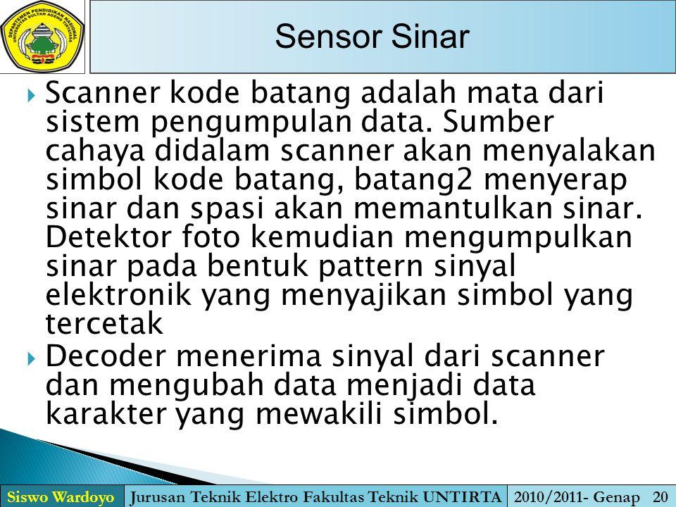  Scanner kode batang adalah mata dari sistem pengumpulan data. Sumber cahaya didalam scanner akan menyalakan simbol kode batang, batang2 menyerap sin