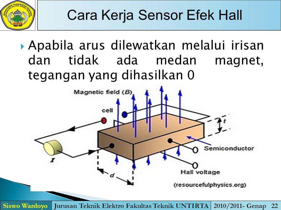  Apabila arus dilewatkan melalui irisan dan tidak ada medan magnet, tegangan yang dihasilkan 0 Cara Kerja Sensor Efek Hall Siswo WardoyoJurusan Tekni