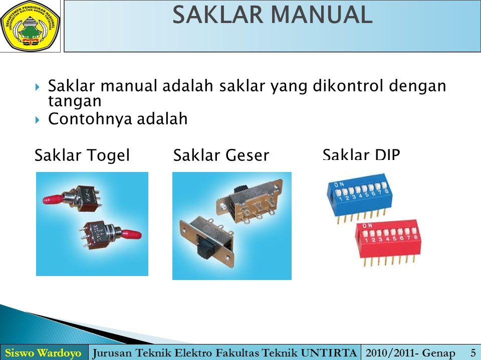  Saklar manual adalah saklar yang dikontrol dengan tangan  Contohnya adalah Saklar TogelSaklar Geser Saklar DIP SAKLAR MANUAL Siswo WardoyoJurusan T