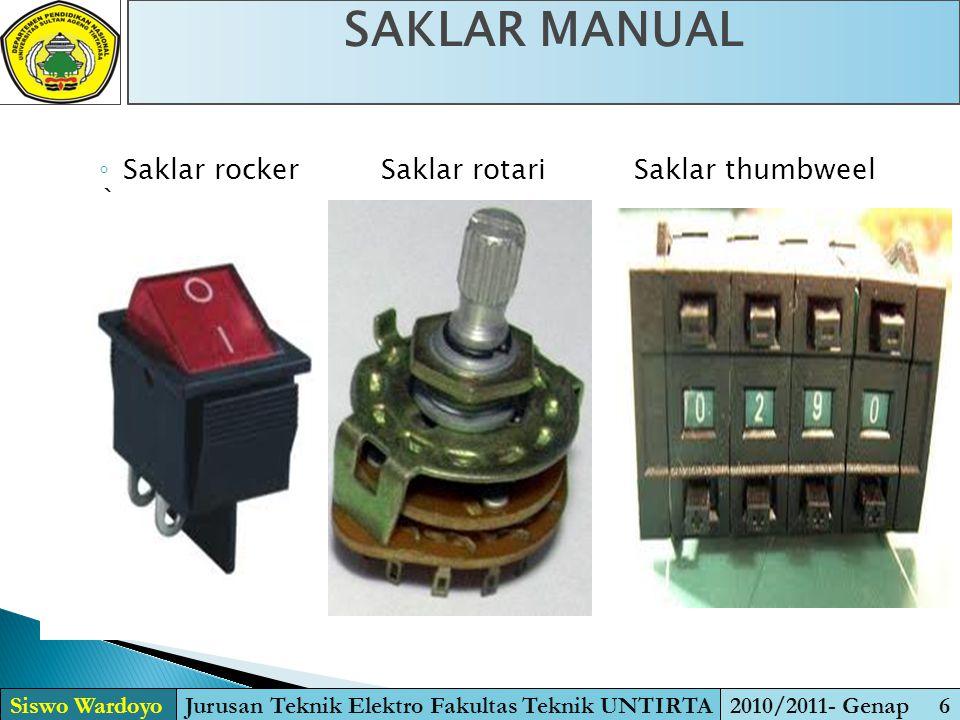 ◦ Saklar rocker Saklar rotari Saklar thumbweel ` SAKLAR MANUAL Siswo WardoyoJurusan Teknik Elektro Fakultas Teknik UNTIRTA2010/2011- Genap 6