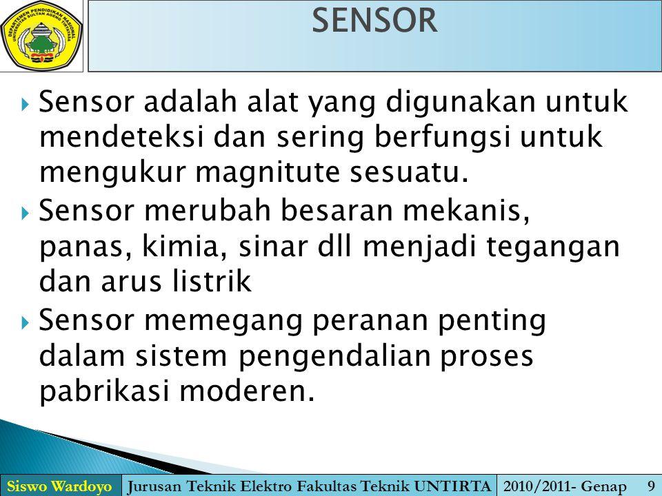  Sensor adalah alat yang digunakan untuk mendeteksi dan sering berfungsi untuk mengukur magnitute sesuatu.  Sensor merubah besaran mekanis, panas, k