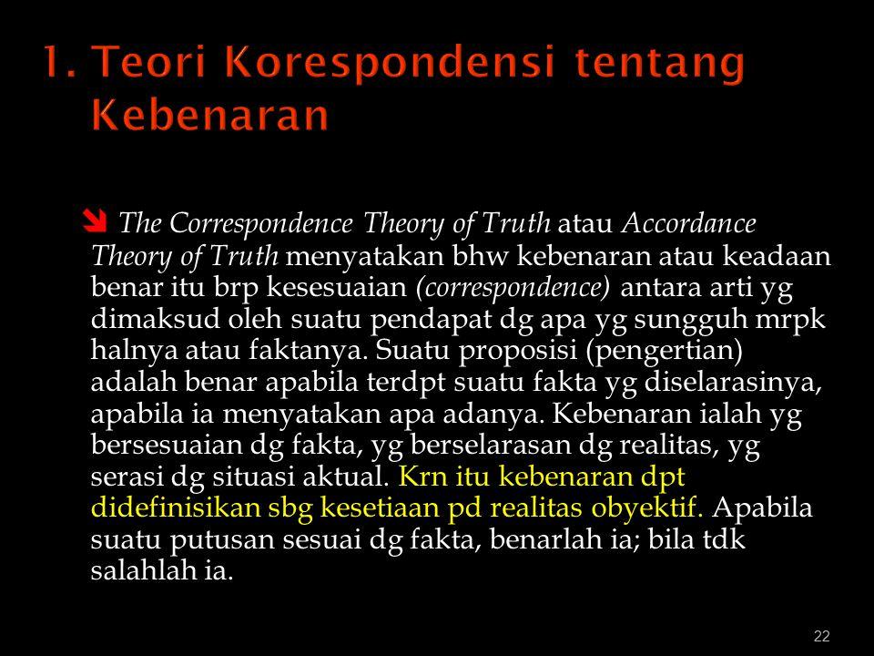 22  The Correspondence Theory of Truth atau Accordance Theory of Truth menyatakan bhw kebenaran atau keadaan benar itu brp kesesuaian (correspondence) antara arti yg dimaksud oleh suatu pendapat dg apa yg sungguh mrpk halnya atau faktanya.