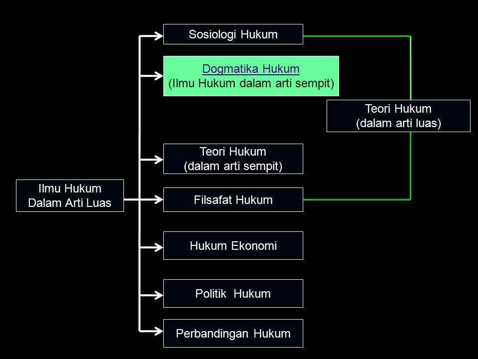 Ilmu Hukum Dalam Arti Luas Sosiologi Hukum Dogmatika Hukum (Ilmu Hukum dalam arti sempit) Teori Hukum (dalam arti sempit) Filsafat Hukum Hukum Ekonomi Perbandingan Hukum Teori Hukum (dalam arti luas) Politik Hukum