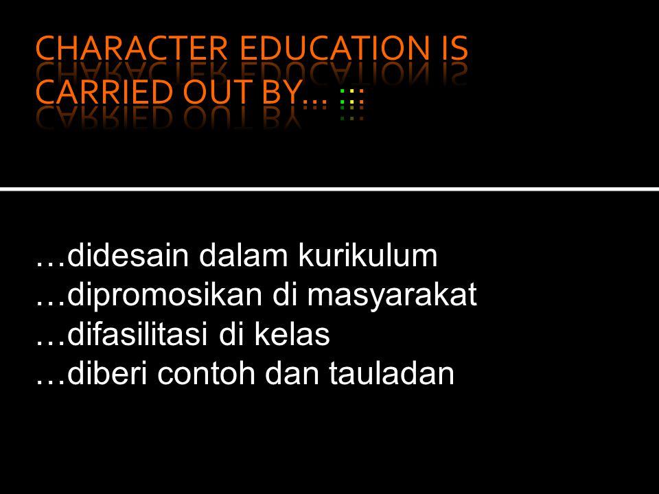 …didesain dalam kurikulum …dipromosikan di masyarakat …difasilitasi di kelas …diberi contoh dan tauladan