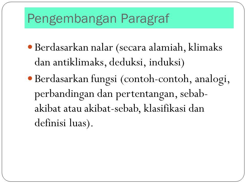 Pengembangan Paragraf Berdasarkan nalar (secara alamiah, klimaks dan antiklimaks, deduksi, induksi) Berdasarkan fungsi (contoh-contoh, analogi, perban