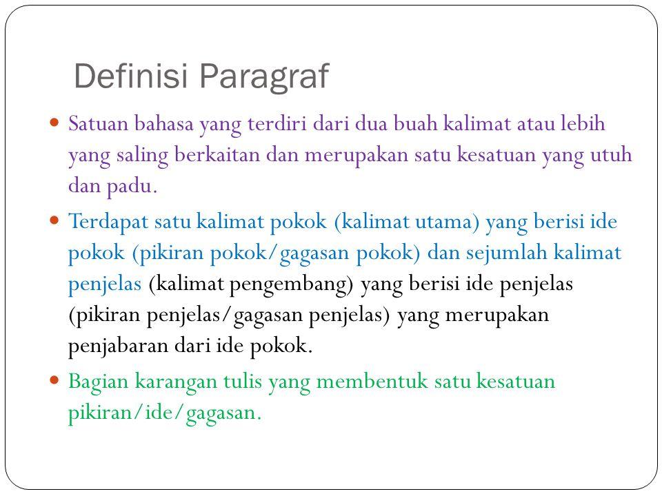 Definisi Paragraf Satuan bahasa yang terdiri dari dua buah kalimat atau lebih yang saling berkaitan dan merupakan satu kesatuan yang utuh dan padu. Te