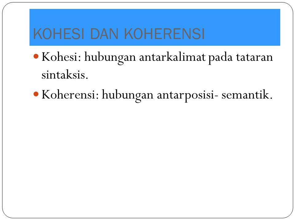 KOHESI DAN KOHERENSI Kohesi: hubungan antarkalimat pada tataran sintaksis. Koherensi: hubungan antarposisi- semantik.
