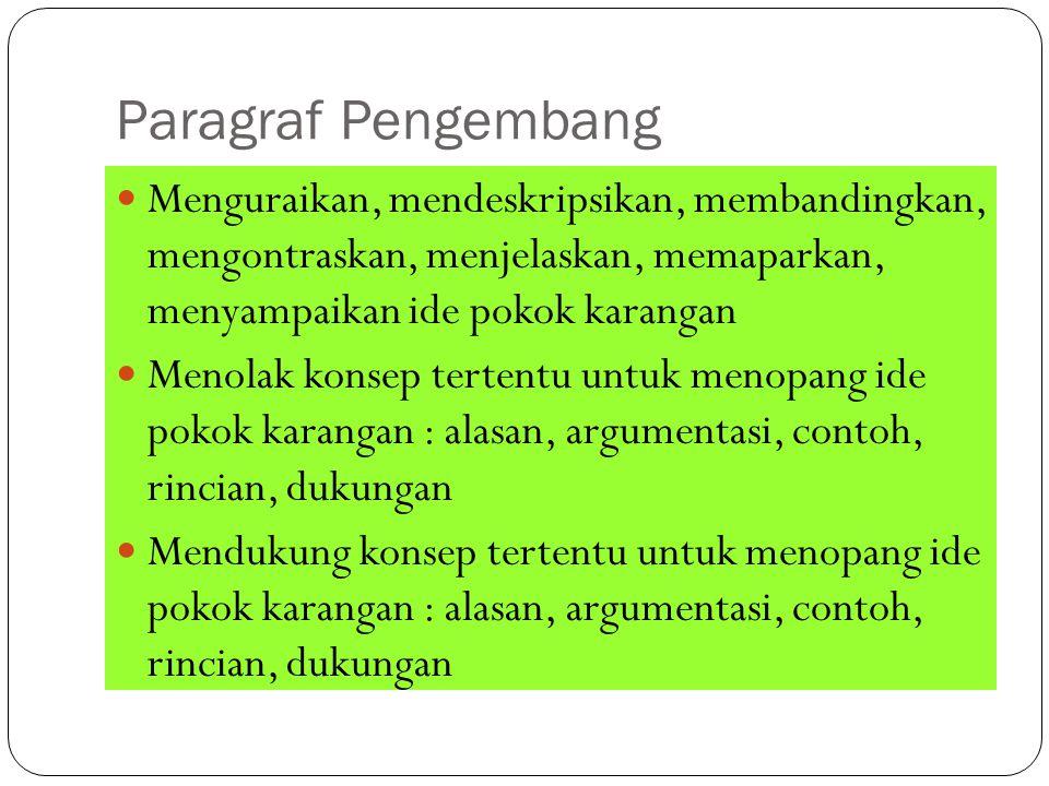 Paragraf Pengembang Menguraikan, mendeskripsikan, membandingkan, mengontraskan, menjelaskan, memaparkan, menyampaikan ide pokok karangan Menolak konse
