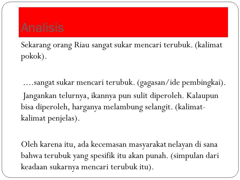 Analisis Sekarang orang Riau sangat sukar mencari terubuk. (kalimat pokok).....sangat sukar mencari terubuk. (gagasan/ide pembingkai). Jangankan telur