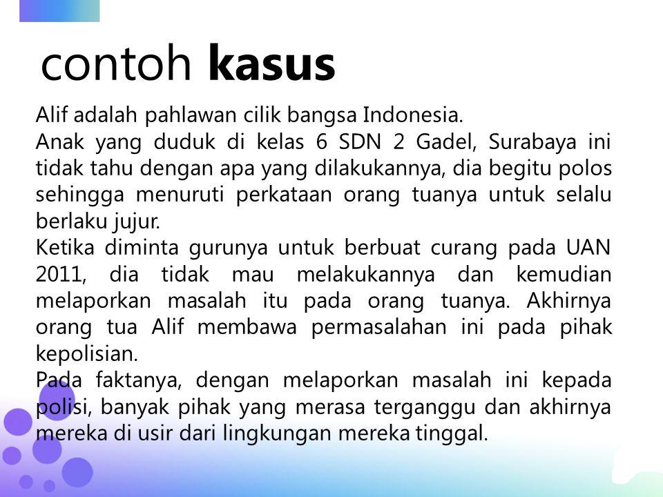 contoh kasus Alif adalah pahlawan cilik bangsa Indonesia. Anak yang duduk di kelas 6 SDN 2 Gadel, Surabaya ini tidak tahu dengan apa yang dilakukannya