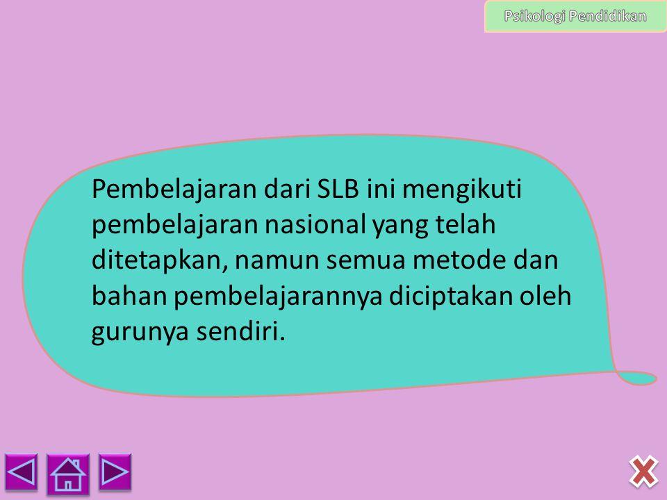 Pembelajaran dari SLB ini mengikuti pembelajaran nasional yang telah ditetapkan, namun semua metode dan bahan pembelajarannya diciptakan oleh gurunya