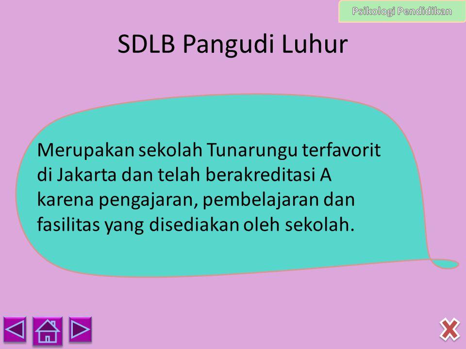 SDLB Pangudi Luhur Merupakan sekolah Tunarungu terfavorit di Jakarta dan telah berakreditasi A karena pengajaran, pembelajaran dan fasilitas yang dise
