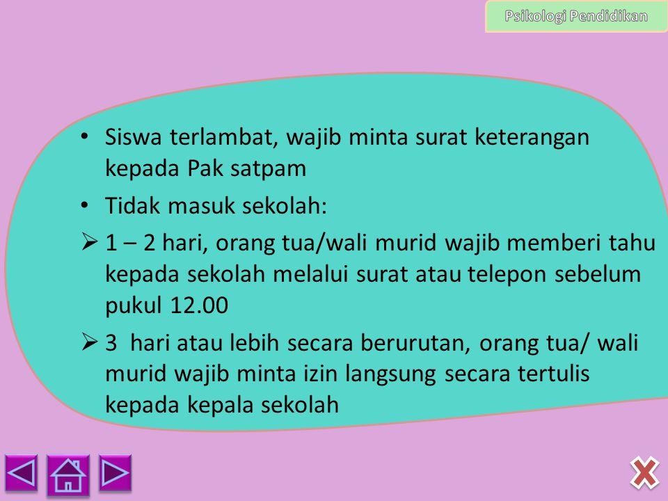 Siswa terlambat, wajib minta surat keterangan kepada Pak satpam Tidak masuk sekolah:  1 – 2 hari, orang tua/wali murid wajib memberi tahu kepada seko