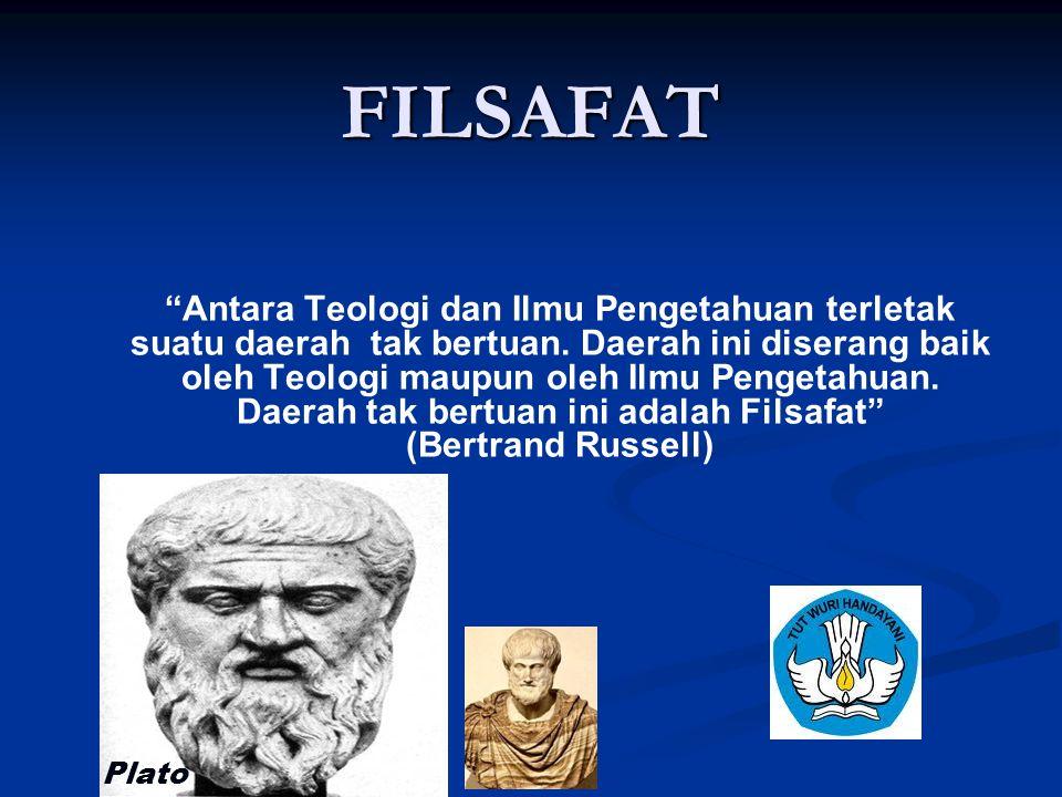 """FILSAFAT """"Antara Teologi dan Ilmu Pengetahuan terletak suatu daerah tak bertuan. Daerah ini diserang baik oleh Teologi maupun oleh Ilmu Pengetahuan. D"""