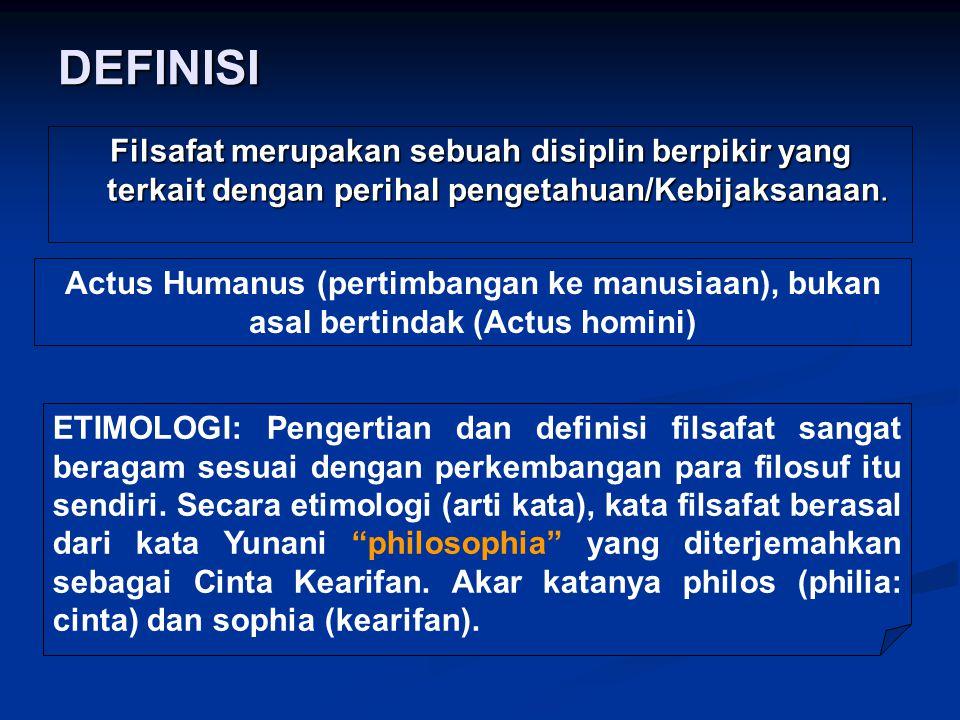 DEFINISI Filsafat merupakan sebuah disiplin berpikir yang terkait dengan perihal pengetahuan/Kebijaksanaan. Actus Humanus (pertimbangan ke manusiaan),