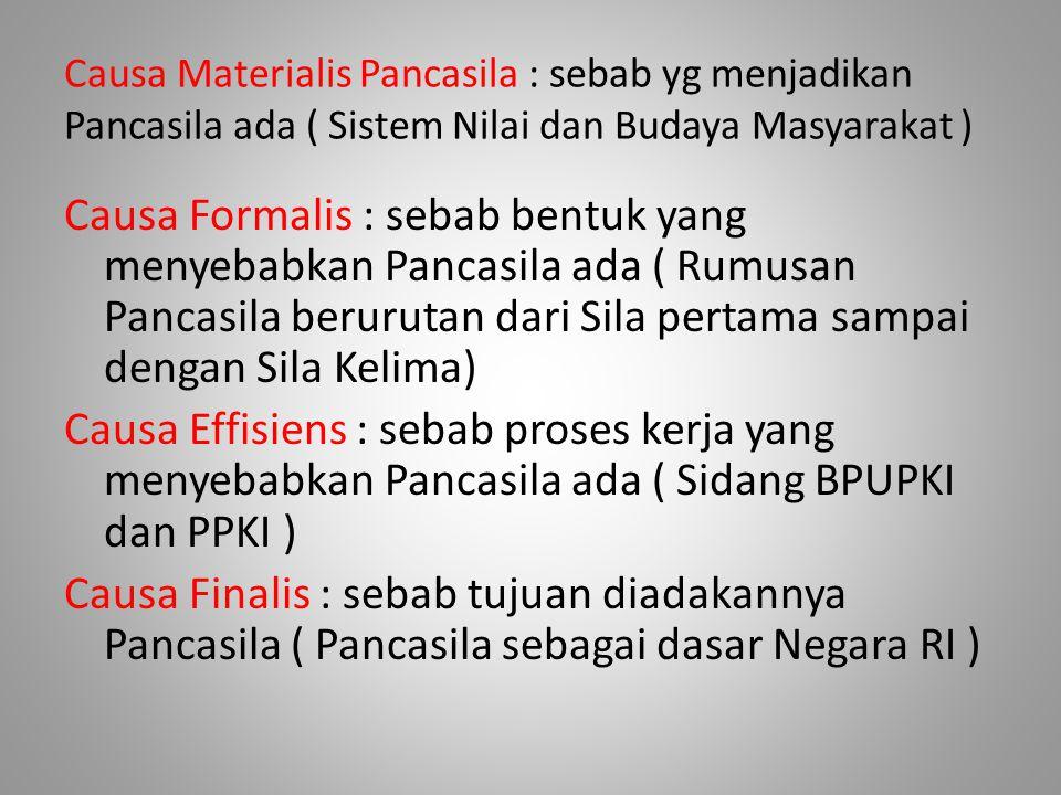 Causa Materialis Pancasila : sebab yg menjadikan Pancasila ada ( Sistem Nilai dan Budaya Masyarakat ) Causa Formalis : sebab bentuk yang menyebabkan P
