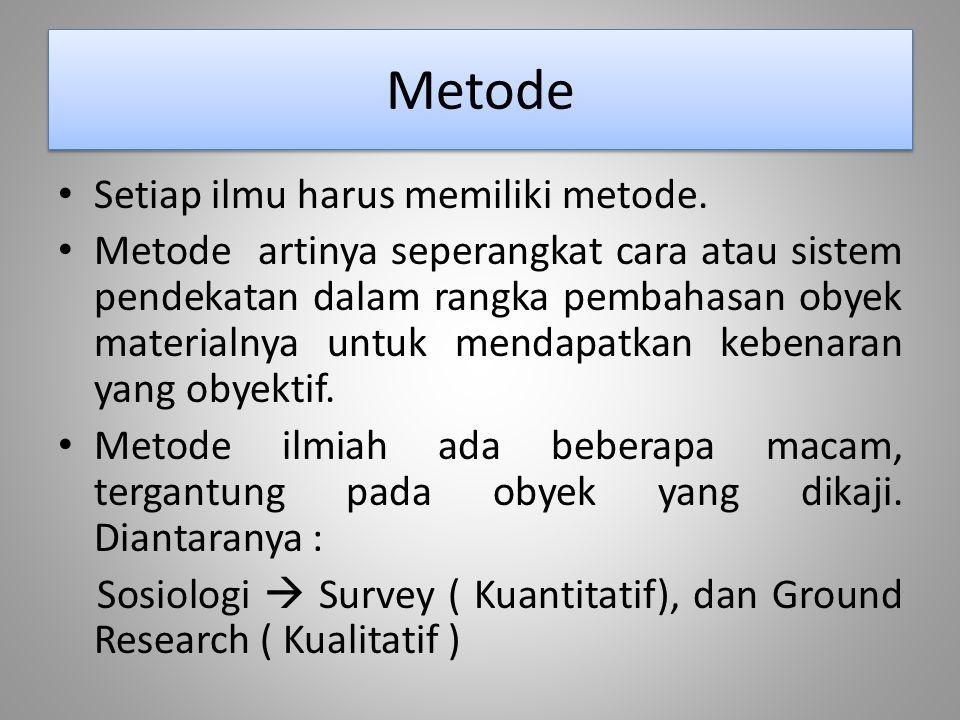 Metode Setiap ilmu harus memiliki metode. Metode artinya seperangkat cara atau sistem pendekatan dalam rangka pembahasan obyek materialnya untuk menda