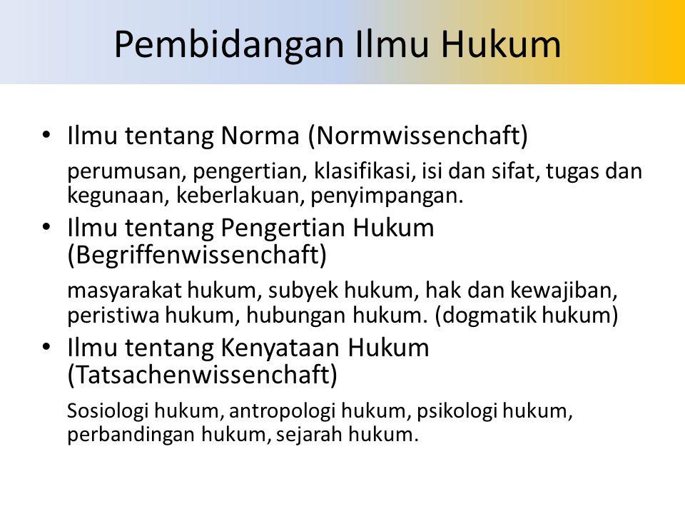 Pembidangan Ilmu Hukum Ilmu tentang Norma (Normwissenchaft) perumusan, pengertian, klasifikasi, isi dan sifat, tugas dan kegunaan, keberlakuan, penyim