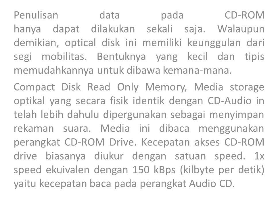 Penulisan data pada CD-ROM hanya dapat dilakukan sekali saja.