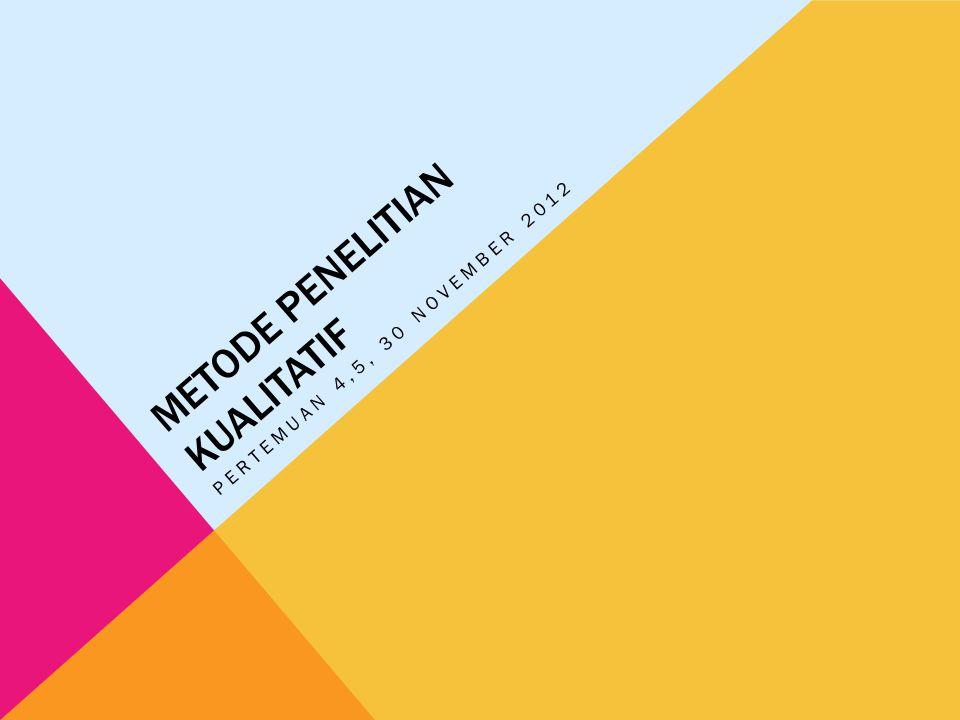 METODE PENELITIAN KUALITATIF PERTEMUAN 4,5, 30 NOVEMBER 2012